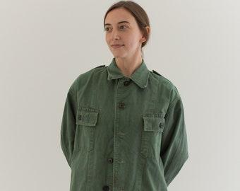Vintage Olive Green Shirt Army Jacket | Unisex Sage Cotton Button Up | Herringbone twill Epaulette | M | GS001