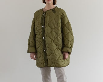 Vintage Green Liner Jacket White Buttons | Quilted Nylon Coat | L XL | LI013