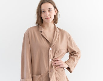 Vintage Ballet Pink Overdye Chore Jacket   Dusty Pink Cotton French Workwear Style Utility Work Coat   S M