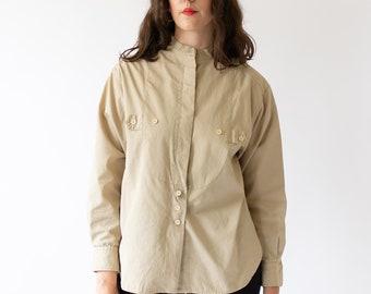 Vintage Tan Khaki Bib Shirt | Cotton Button Up Shirt | Harve Benard