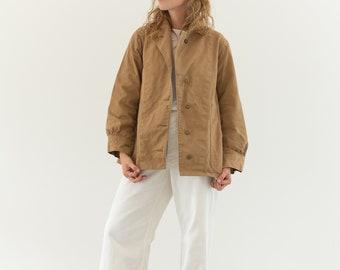 Vintage Khaki Cotton Twill Jacket   Tan Beige Light Workwear British Military Khaki Coat   Canvas 40s   XS S  