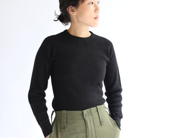 Vintage Black Waffle Knit Thermal Shirt | Honeycomb Waffleknit Cotton military henley | XS S |