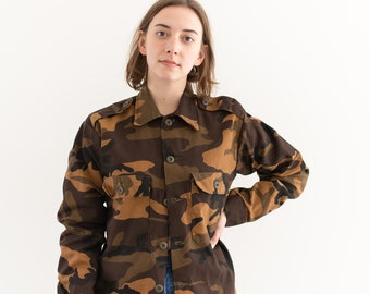 Vintage Brown Camo OverShirt | Camouflage Cotton Button Up | Gung Ho | S