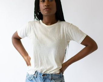 Vintage Cotton Off White Crew Neck Tee T Shirt | Semi Sheer Vintage Tee | T0--