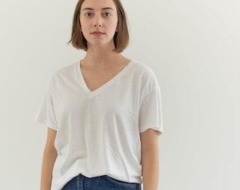 Vintage Cotton White V Neck Tee T Shirt   Semi sheer T-Shirt Tee Shirt Top   Made USA   S   T036