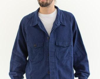 Vintage Navy Blue Work Jacket | Unisex Double Pocket Italy Worker Coat | Fuzzy Moleskin | M | IT105|