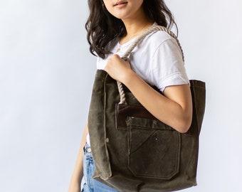 4cef7c4e8 Vintage Re-MADE Canvas Tote Bag | Military Book Bag | Canvas Market Bag |  Laptop Bag