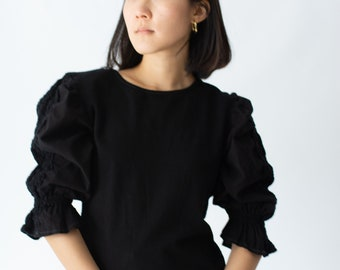 Vintage Black Puff Sleeve Shirt | Floral Crochet Panel | Romantic Blouse | S | BP034