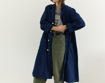 The Corozo Shop Coat in True Blue | Vintage Navy Overdye Chore Trench Jacket | Painter Duster | S M L XL