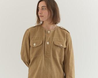Vintage Tan Khaki Popover Shirt | Long Sleeve Pullover | Artist Studio Top Smock Tunic | Corozo Buttons | S M