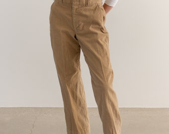 Vintage 30 Waist Light Brown Corduroy Trousers | Tan High Rise | Made in USA |