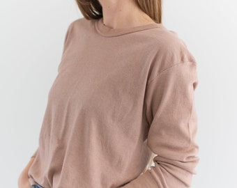 Vintage Dusty Pink Thermal Shirt | Crewneck Tee | Cotton Blend | S |