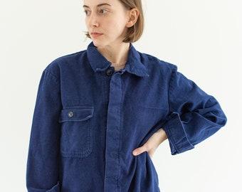 Vintage Navy Blue Work Jacket | Single Pocket Italy Coat | Moleskin | Made in Italy | S M | IT156