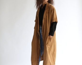 07e4e6cc26c5 Vintage Almond Brown Overdye Short Sleeve Wrap Coat