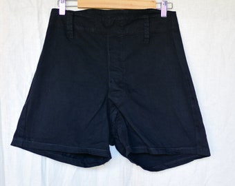 Vintage 28 Waist Black Cotton Shorts | Button Fly | High Rise Workwear | Metal Buttons | BS06