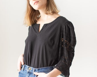 Vintage Black Puff Sleeve Shirt | Cotton Crochet | Romantic Blouse | M | BP106