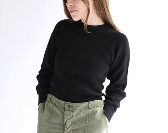 Vintage Black Waffle knit Thermal Shirt | Honeycomb Cotton military henley | Long Underwear Shirt |