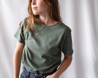 The Sevilla Tee | Army Green Crew T-Shirt | Olive Green Cotton Crewneck Tee Shirt | Washed Deadstock | S M
