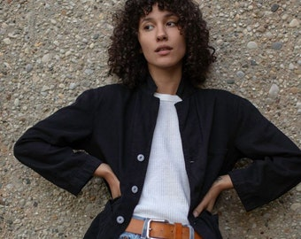 Vintage Black Overdye Classic Chore Jacket   Unisex Square Three Pocket   Cotton French Workwear Style Utility Work Coat Blazer XS S M L XL