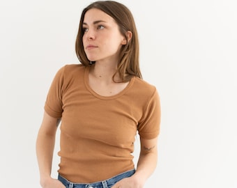 The Berlin Tee in Almond Brown| Vintage Ribbed Tee T Shirt | Rib Knit Tee | 100% Cotton | XS S