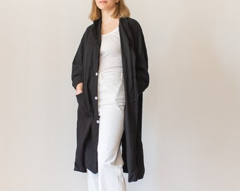 Vintage Black Lightweight Shop Jacket | Overdye Utility Duster Coat | Artist Smock | L XL |
