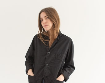 Vintage Black Chore Jacket | Lightweight Round Three Pocket | Cotton Style Coat Blazer | S |