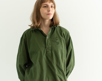 Vintage Forest Green Popover Tunic Shirt   Pullover   Cotton Henley   L   GP003
