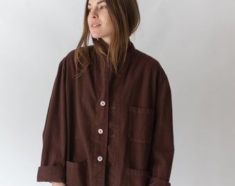 Vintage Hickory Brown Overdye Chore Jacket | Dark Brown Cotton French Workwear Style Utility Work Coat Blazer | M L