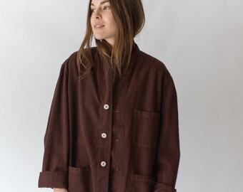 Vintage Hickory Brown Overdye Chore Jacket | Dark Brown Cotton French Workwear Style Utility Work Coat Blazer | XS S M L