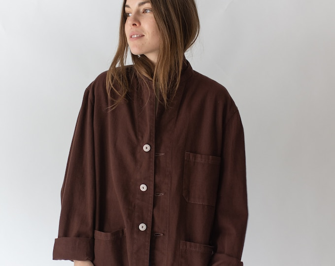 Featured listing image: Vintage Hickory Brown Overdye Chore Jacket | Unisex Dark Brown Cotton French Workwear Style Utility Work Coat Blazer | XS S M L XL