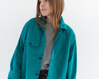Vintage Teal Single Pocket Work Jacket | Unisex Cotton Utility Work Jacket | Made in Italy | S M | IT151