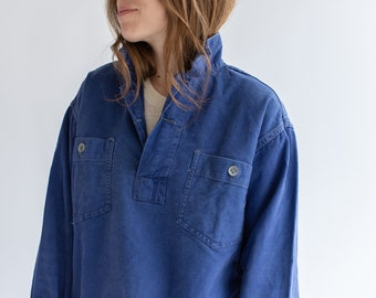 Vintage Denim Blue Popover Shirt | Indigo Two Button French Workwear style Pullover | S M