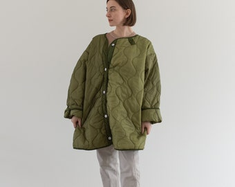 Vintage Green Liner Jacket White Buttons | Two Tone Quilted Nylon Coat | L XL | LI015