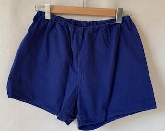 Vintage 24 25 26 27 28 29 30 31 32 33 34 Waist Blue Elastic Cotton Shorts | XS S M L