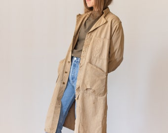 Vintage Tan Herringbone Twill Coat | Holes | Raggedy | Shop Coat Trench | Chore Coat Smock Jacket