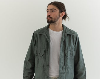 Vintage Sage Green Two Pocket Work Shirt | Unisex Utility Overshirt | M L |