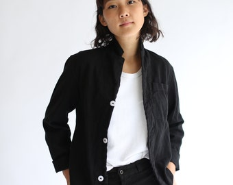 Vintage Black Overdye Crop Jacket | Utility Work Jacket | Short Crop Jacket Bolero | XS S M L