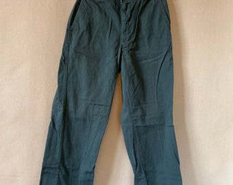 Vintage 27 28 Waist Teal Cotton Twill Chinos Pants | Mended Repaired | TC31
