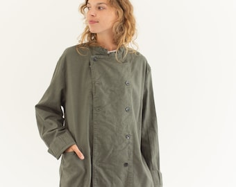 Vintage Grey Studio Jacket | Double Breast Cotton Overshirt | L |