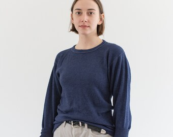 The Oslo Thermal in True Blue | Vintage Waffleknit Shirt | Made in USA | 50 50 Cotton Poly | M L |