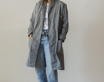 Vintage Slate Grey Shop Coat | Gray Chore Trench Jacket |