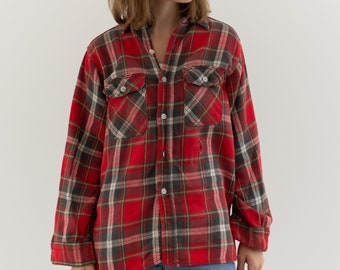 Vintage Red Black Plaid Flannel | Made in USA | 60s King Kole | Worn | M |