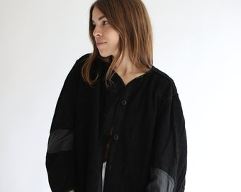 Vintage Black Overdye Pile Liner Jacket | Terry Cloth Texture Coat | Silky | S M L