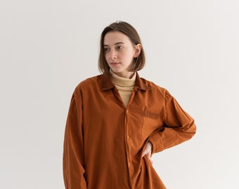 Vintage Carrot Orange Long Sleeve Shirt | Contrast Color | Wrapped Buttons Simple Blouse | Cotton Work Shirt | M