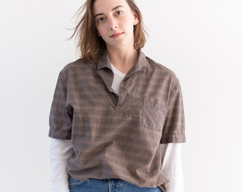 Vintage Pink Brown Houndstooth Plaid Short Sleeve Popover Shirt | Short Sleeve | Made in USA | S |