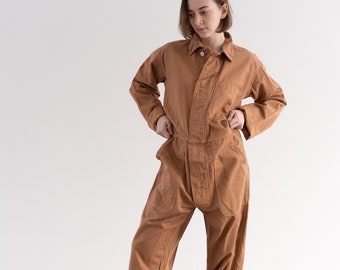 Vintage Overdye Almond Brown Coverall | Jumpsuit | Flight Suit Studio Ceramic Painter Onesie | Boilersuit