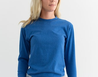 Vintage Bright Blue Cotton Thermal | Long Sleeve Top Shirt | XS S |