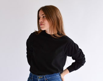 Vintage Black Cotton Shirt | Long Sleeve Layer Top | Crewneck Thermal |