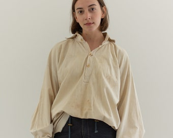 Antique Cream Cotton Peasant Tunic | Poet Shirt Smock | Stains | L |