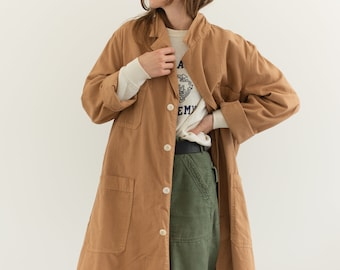 The Corozo Shop Coat in Almond Brown | Vintage Overdye Chore Trench Jacket | Painter Duster | S M L XL